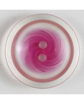 Kunststoffknopf, zweifarbiger Rand mit Wirbel im Mittelteil 2-Loch - Größe: 19mm - Farbe: pink - Art.Nr. 260879