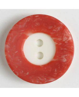 Polyesterknopf mit breitem, strukturiertem farbigem Rand mit 2 Löchern im weißen Kreis - Größe: 18mm - Farbe: rot - Art.Nr. 251295