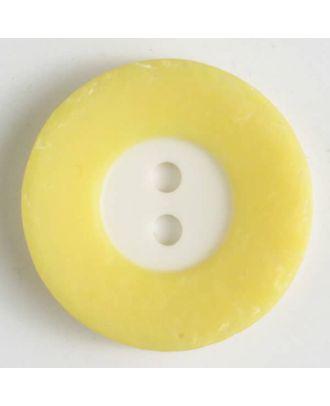 Polyesterknopf mit breitem, strukturiertem farbigem Rand mit 2 Löchern im weißen Kreis - Größe: 15mm - Farbe: gelb - Art.Nr. 231435