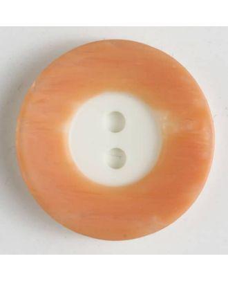 Polyesterknopf mit breitem, strukturiertem farbigem Rand mit 2 Löchern im weißen Kreis - Größe: 18mm - Farbe: orange - Art.Nr. 251297