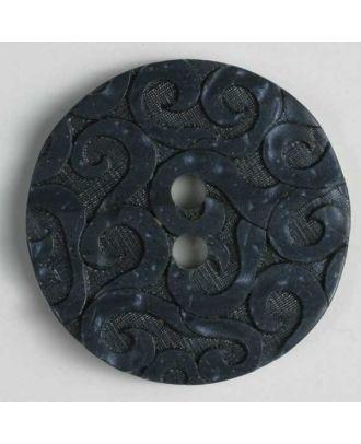 Kunststoffknopf mit Ornamenten, 2 Loch - Größe: 23mm - Farbe: blau - Art.Nr. 300667