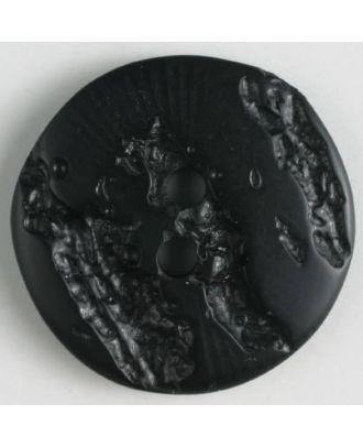 Polyesterknopf mit hervorgehobenem Borkenmuster mit 2 Löchern - Größe: 18mm - Farbe: schwarz - Art.Nr. 310836