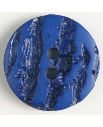 Polyesterknopf mit hervorgehobenem Borkenmuster mit 2 Löchern - Größe: 18mm - Farbe: blau - Art.Nr. 310839