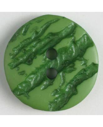 Polyesterknopf mit hervorgehobenem Borkenmuster mit 2 Löchern - Größe: 25mm - Farbe: grün - Art.Nr. 370649