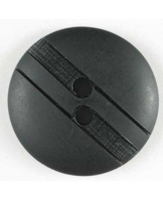 Kunststoffknopf mit dezenten Streifen, 2 Loch - : 25mm - Farbe: schwarz - Art.Nr. 320518