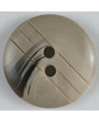 Kunststoffknopf mit dunklem Wedel -  Größe: 25mm - Farbe: beige - Art.Nr. 320519