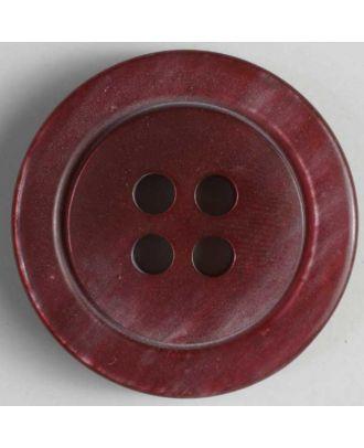 Kunststoffknopf marmoriert mit Wulstrand - Größe: 25mm - Farbe: rot - Art.Nr. 320542