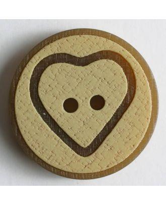 Kunststoffknopf im Korklook mit braunem Herz und braunem Rand - Größe: 25mm - Farbe: beige - Art.Nr. 320547