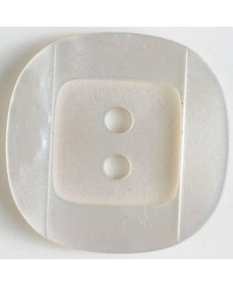 Kunsstoffknopf viereckig, angedeuteter Rand und Mittelteil als abgerundetes Quadrat 2-Loch - Größe: 34mm - Farbe: weiss - Art.Nr. 400150