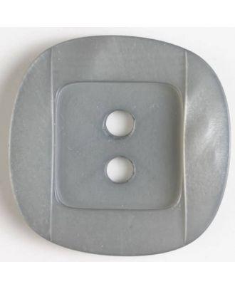 Kunsstoffknopf viereckig, angedeuteter Rand und Mittelteil als abgerundetes Quadrat 2-Loch - Größe: 34mm - Farbe: grau - Art.Nr. 400151