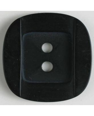 Kunsstoffknopf viereckig, angedeuteter Rand und Mittelteil als abgerundetes Quadrat 2-Loch - Größe: 34mm - Farbe: schwarz - Art.Nr. 400152