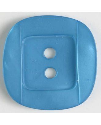 Kunsstoffknopf viereckig, angedeuteter Rand und Mittelteil als abgerundetes Quadrat 2-Loch - Größe: 34mm - Farbe: blau - Art.Nr. 400154