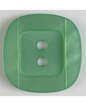 Kunsstoffknopf viereckig, angedeuteter Rand und Mittelteil als abgerundetes Quadrat 2-Loch - Größe: 34mm - Farbe: grün - Art.Nr. 400155