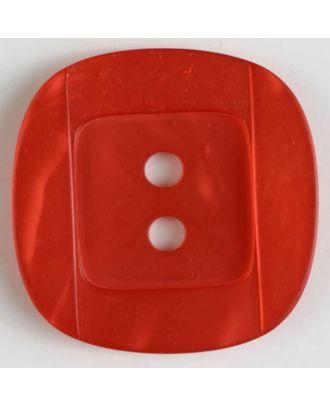 Kunsstoffknopf viereckig, angedeuteter Rand und Mittelteil als abgerundetes Quadrat 2-Loch - Größe: 34mm - Farbe: rot - Art.Nr. 400158