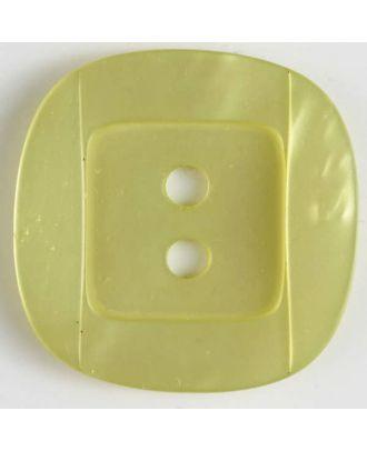 Kunsstoffknopf viereckig, angedeuteter Rand und Mittelteil als abgerundetes Quadrat 2-Loch - Größe: 34mm - Farbe: gelb - Art.Nr. 400159