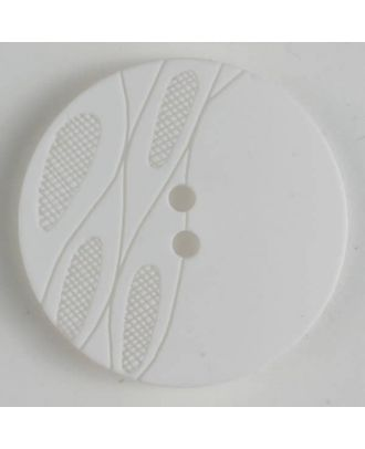 """Kunststoffknopf gelasert """"Tannenzapfen"""", 2-loch - Größe: 28mm - Farbe: weiss - Art.Nr. 380243"""