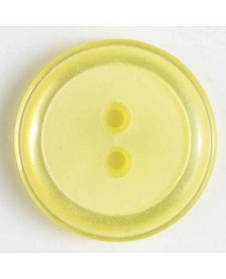 Polyesterknopf, schlichtes Design mit einfachem Rand und 2 Löchern - Größe: 30mm - Farbe: gelb - Art.Nr. 380281