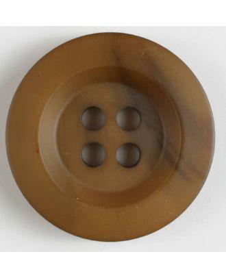 Polyesterknopf minimal schattiert, mit breitem Rand, 4-loch - Größe: 34mm - Farbe: braun - Art.Nr. 400165