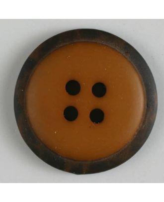 Polyesterknopf mit marmoriertem schwarzem Rand  mit 4 Löchern - Größe: 18mm - Farbe: beige - Art.Nr. 310767
