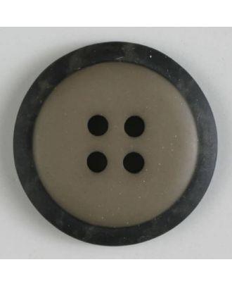 Polyesterknopf mit marmoriertem schwarzem Rand  mit 4 Löchern - Größe: 30mm - Farbe: braun - Art.Nr. 380285