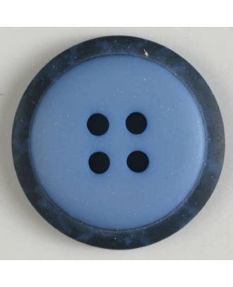 Polyesterknopf mit marmoriertem schwarzem Rand  mit 4 Löchern - Größe: 18mm - Farbe: blau - Art.Nr. 310770