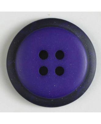 Polyesterknopf mit marmoriertem schwarzem Rand  mit 4 Löchern -  Größe: 30mm - Farbe: lila - Art.Nr. 380288
