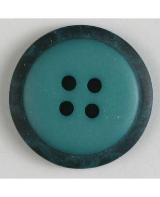 Polyesterknopf mit marmoriertem schwarzem Rand  mit 4 Löchern -  Größe: 18mm - Farbe: grün - Art.Nr. 310772