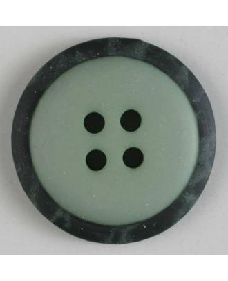 Polyesterknopf mit marmoriertem schwarzem Rand  mit 4 Löchern -  Größe: 18mm - Farbe: grün - Art.Nr. 310773
