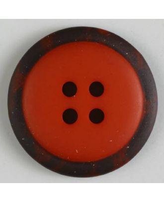 Polyesterknopf mit marmoriertem schwarzem Rand  mit 4 Löchern -  Größe: 18mm - Farbe: rot - Art.Nr. 310774