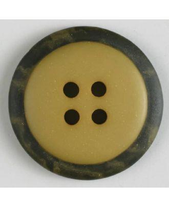 Polyesterknopf mit marmoriertem schwarzem Rand  mit 4 Löchern - Größe: 30mm - Farbe: gelb - Art.Nr. 380292