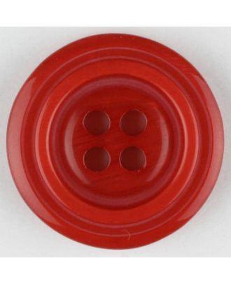 Polyesterknopf aus aneinandergesetzten Ringen, mit 4 Löchern - Größe: 20mm - Farbe: rot - Art.Nr. 331001