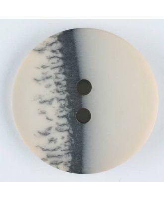 Polyesterknopf, eine Hälfte marmoriert, die andere uni, rund, 2 loch - Größe: 28mm - Farbe: beige - Art.Nr. 384702