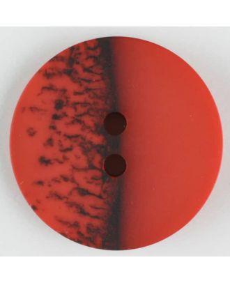 Polyesterknopf, eine Hälfte marmoriert, die andere uni, rund, 2 loch - Größe: 28mm - Farbe: rot - Art.Nr. 384708