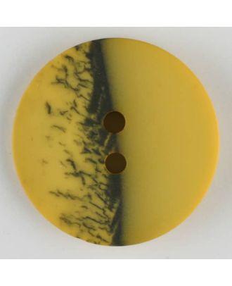 Polyesterknopf, eine Hälfte marmoriert, die andere uni, rund, 2 loch - Größe: 28mm - Farbe: gelb - Art.Nr. 384710