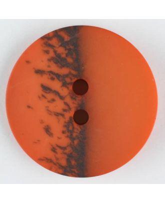 Polyesterknopf, eine Hälfte marmoriert, die andere uni, rund, 2 loch - Größe: 18mm - Farbe: orange - Art.Nr. 314711