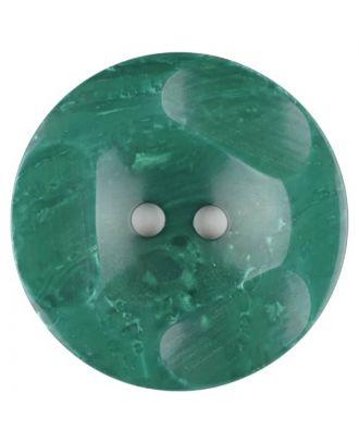 Polyesterknopf glänzend, mit Vertiefungen, rund, 2 loch - Größe: 30mm - Farbe: grün - Art.Nr. 386707
