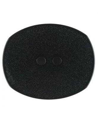 Polyesterknopf mit ungleichmäßiger Oberfläche, oval, 2 loch - Größe: 28mm - Farbe: schwarz - Art.Nr. 380337