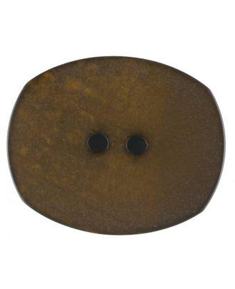 Polyesterknopf mit ungleichmäßiger Oberfläche, oval, 2 loch - Größe: 28mm - Farbe: braun - Art.Nr. 386713