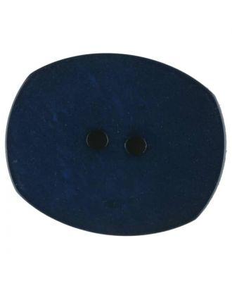 Polyesterknopf mit ungleichmäßiger Oberfläche, oval, 2 loch - Größe: 28mm - Farbe: blau - Art.Nr. 386715