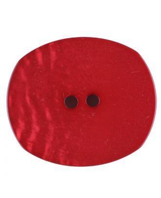 Polyesterknopf mit ungleichmäßiger Oberfläche, oval, 2 loch - Größe: 28mm - Farbe: rot - Art.Nr. 386717
