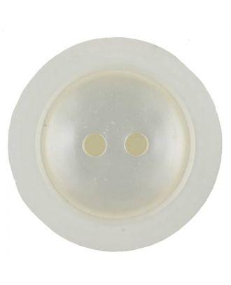 Polyesterknopf dezent umrandet mit  2 Löchern - Größe: 23mm - Farbe: weiss - Art.Nr. 341230