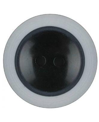 Polyesterknopf dezent umrandet mit  2 Löchern - Größe: 18mm - Farbe: schwarz - Art.Nr. 310980