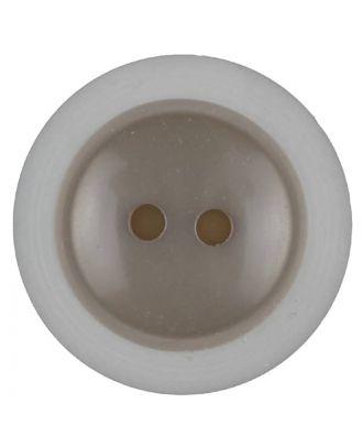 Polyesterknopf dezent umrandet mit  2 Löchern - Größe: 28mm - Farbe: beige - Art.Nr. 387714