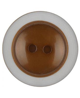 Polyesterknopf dezent umrandet mit  2 Löchern - Größe: 28mm - Farbe: braun - Art.Nr. 387715