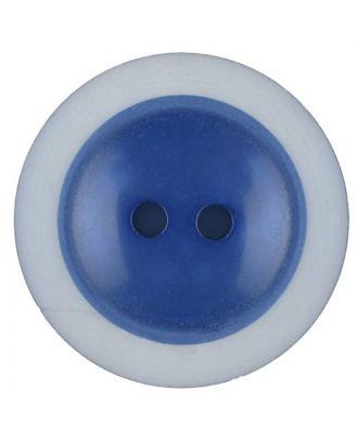 Polyesterknopf dezent umrandet mit  2 Löchern - Größe: 28mm - Farbe: blau - Art.Nr. 387716