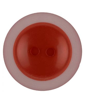 Polyesterknopf dezent umrandet mit  2 Löchern - Größe: 18mm - Farbe: rot - Art.Nr. 317710
