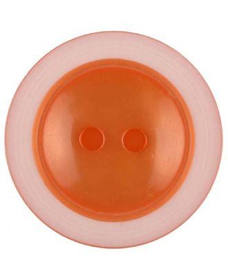 Polyesterknopf dezent umrandet mit  2 Löchern - Größe: 28mm - Farbe: orange - Art.Nr. 387725