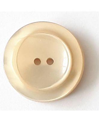 Polyesterknopf mit breitem Rand mit 2 Löchern - Größe: 28mm - Farbe: beige - Art.Nr. 388713