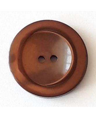 Polyesterknopf mit breitem Rand mit 2 Löchern - Größe: 28mm - Farbe: braun - Art.Nr. 388715