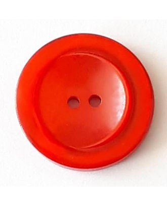Polyesterknopf mit breitem Rand mit 2 Löchern - Größe: 28mm - Farbe: rot - Art.Nr. 388722